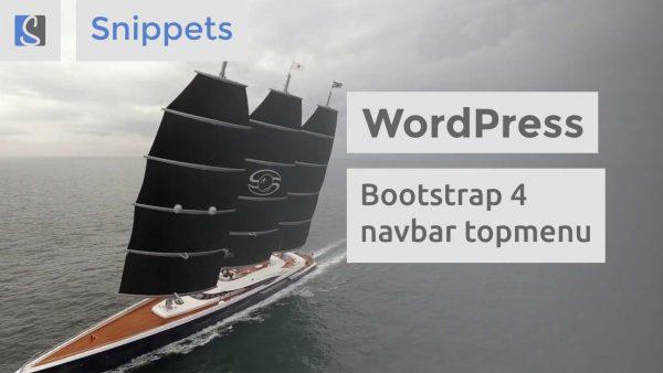 WordPress Bootstrap 4 navbar topmenu